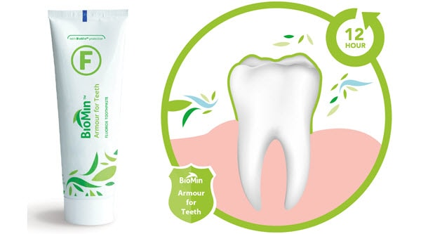 Biomin toothpaste protecting against acid erosion